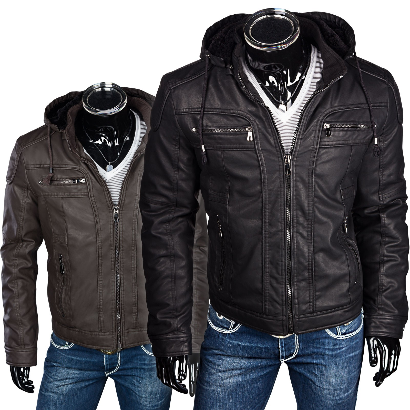 herren winterlederjacke pu lederjacke mit kapuze. Black Bedroom Furniture Sets. Home Design Ideas
