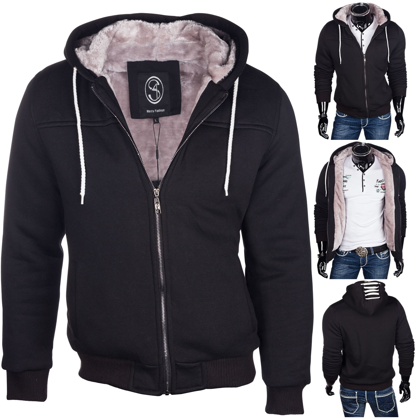 herren jacke winterjacke warm bergangsjacke jacke hoodie gef ttert herren mode kapuzenpullover. Black Bedroom Furniture Sets. Home Design Ideas