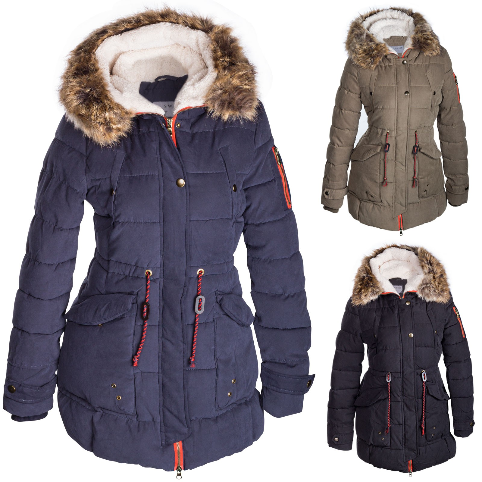 damen parka mit teddyfutter vila damen winter parka. Black Bedroom Furniture Sets. Home Design Ideas