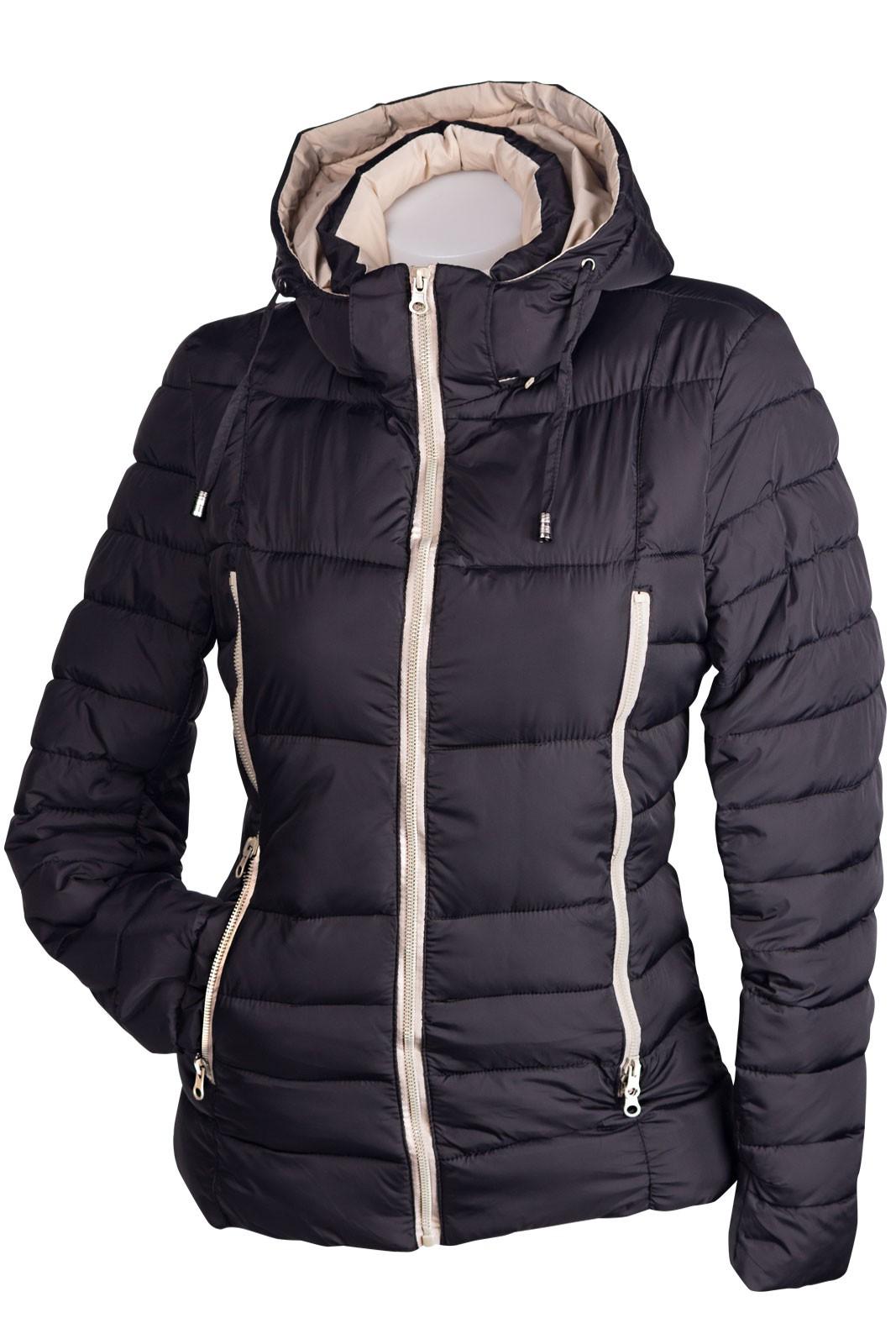 sportliche damen winterjacke mit kapuze daunen optik. Black Bedroom Furniture Sets. Home Design Ideas