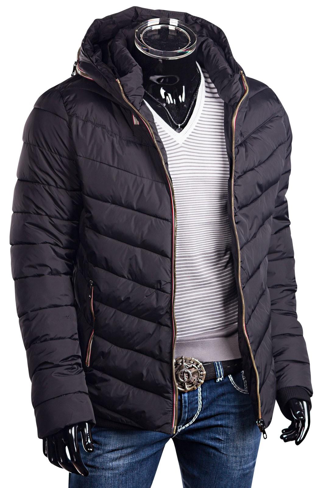 herren winterjacke steppjacke mit kapuze daunen look zip parka herren mode jacken. Black Bedroom Furniture Sets. Home Design Ideas